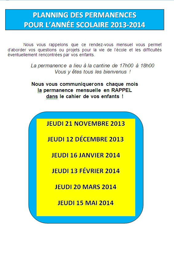 Planning des permanences 2013-2014