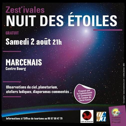 Nuit des étoiles samedi 2 août à Marcenais