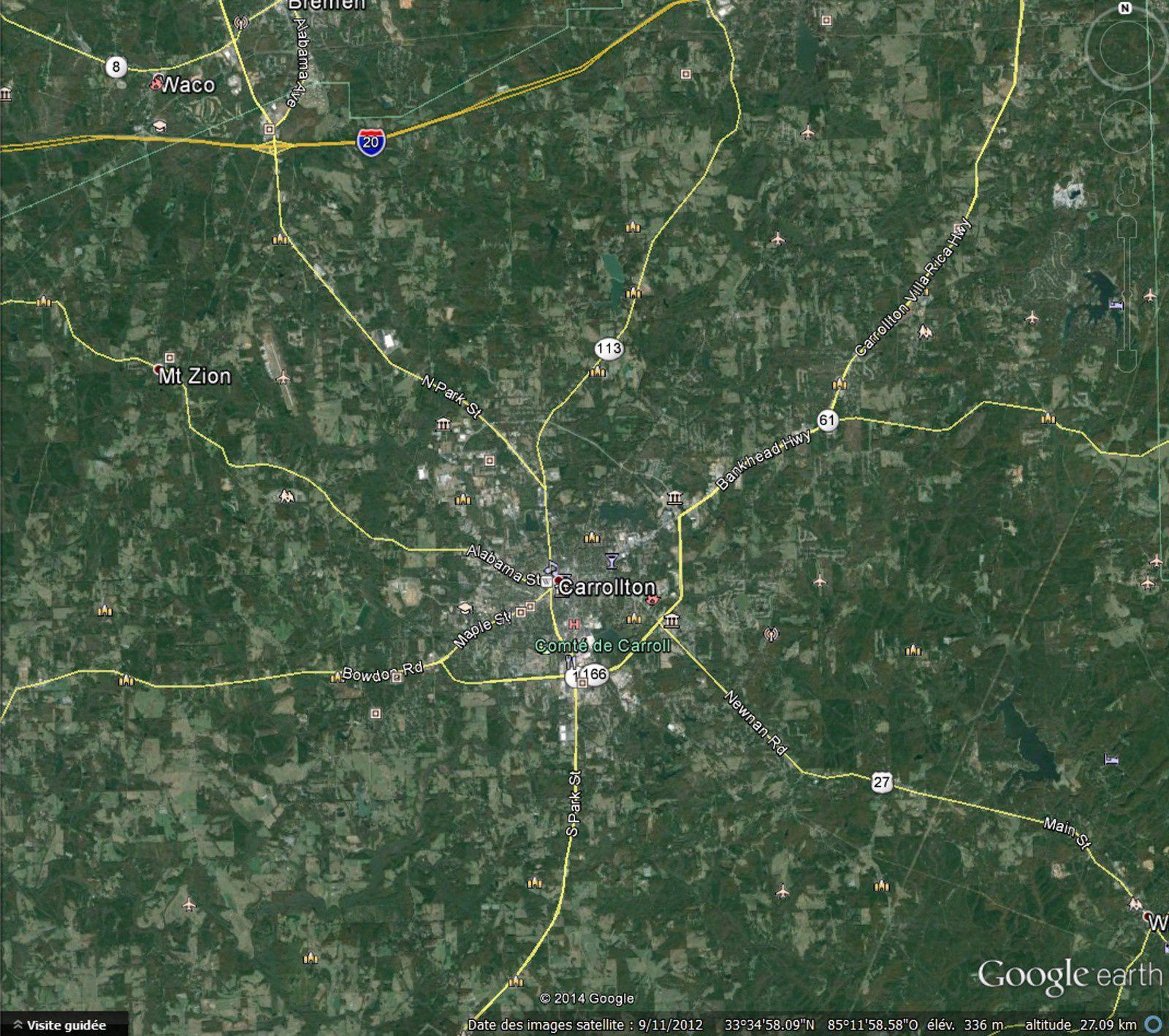 A 45 Km d'altitude, apparaissent, en jaune, les routes et autoroutes. Nous distinguons très clairement maintenant :