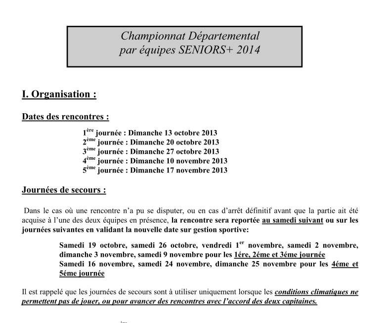 INSCRIPTION EQUIPES SENIORS + 2014