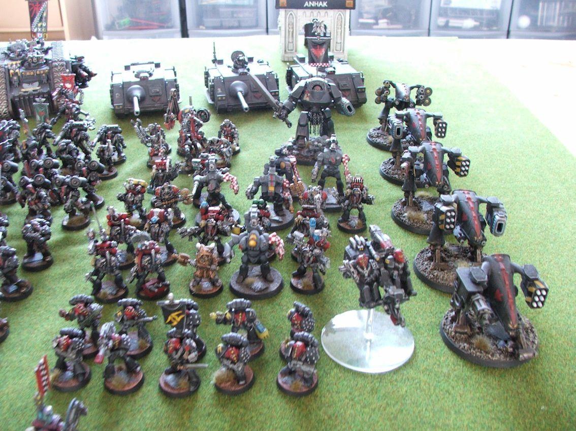 Armée Dark angels tout en armure MK6 : la photo de groupe.