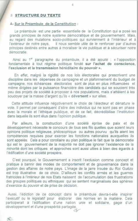|Bénin: L'exécutif transmet un nouveau projet de révision de la constitution à l'Assemblée : _ [texte intégral]