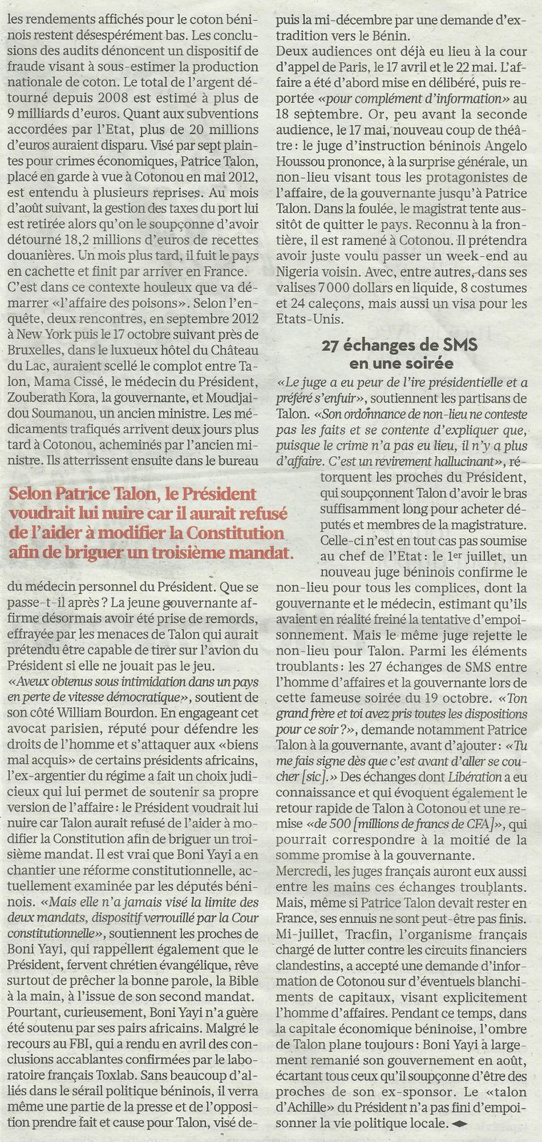 """ Bénin : Poison,coton et extorsion"" article de Maria MALAGARDIS, In ""LIBERATION"" parution du 17/09/2013"