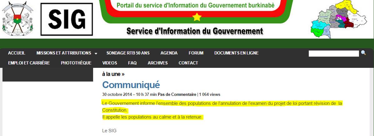 Burkina_ Communiqué du Service d' Information du Gouvernement paru le 30_10_2014 à la suite des manifs
