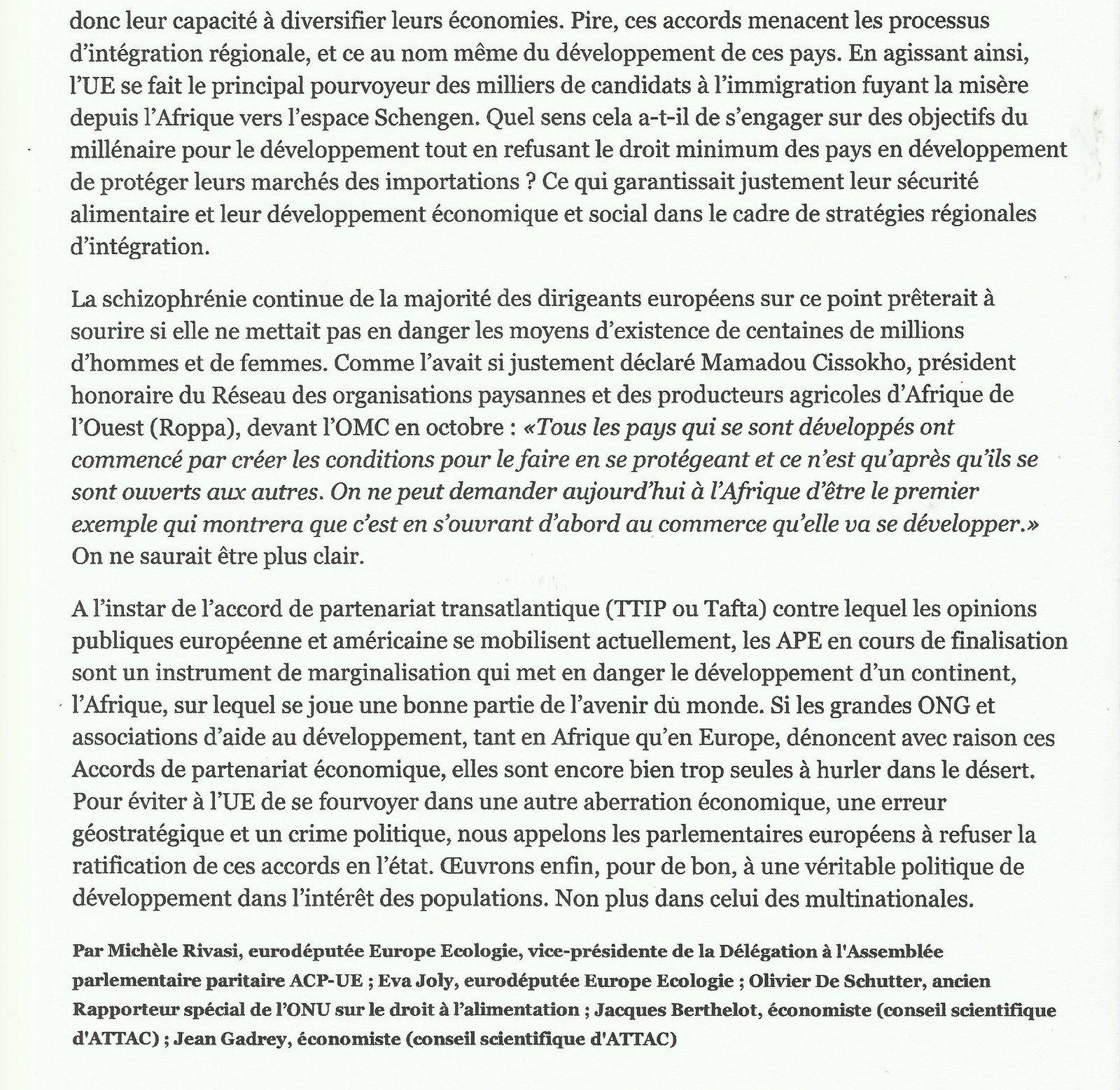 |UE-AFRIQUE de L'OUEST : une entrave au développement aux apparences d'un partenariat