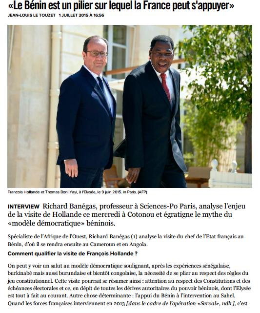 «Le Bénin est un pilier sur lequel la France peut s'appuyer»