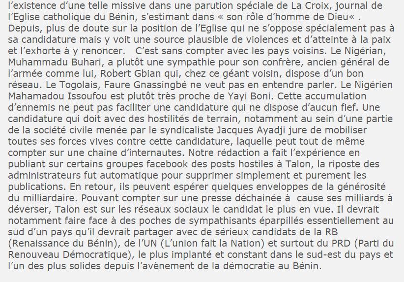 |Présidentielles 2016 au Bénin : Encore heureux qu'il subsiste encore une presse indépendante et objective.