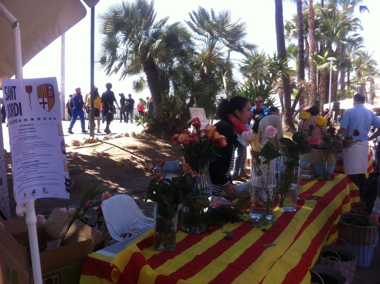 A la San Jordi, on offre des roses aux dames... et des livres aux messieurs / Sitges plein soleil/ Plage déserte... et pleine de Français.
