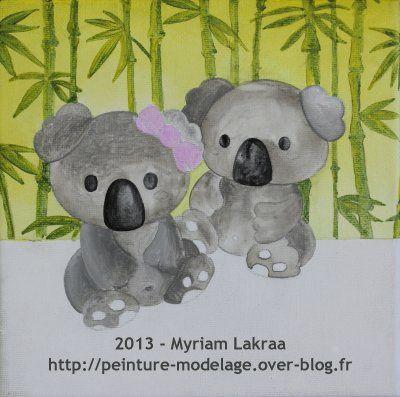 "Toile ""koalas"" 20x20 cm - Etape 1"