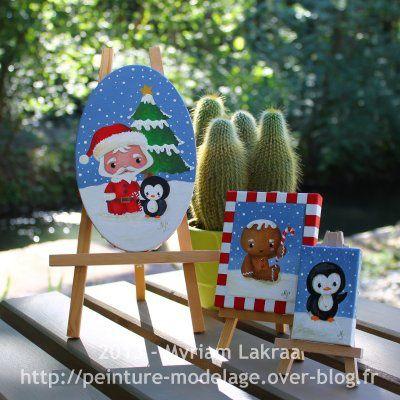 """""""Cute Christmas"""" (Noël mignon) - peinture acrylique sur toile ovale, 12x19 cm - 2013"""