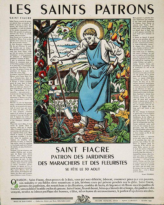 Bienheureux Saint Fiacre, Patron des jardiniers, gravure sur cuivre éditée entre 1810 et 1819 par Veuve Chéreau-Matrat, Paris, coll. Musée de l'image, dépôt MDAAC, cliché H. Rouyer