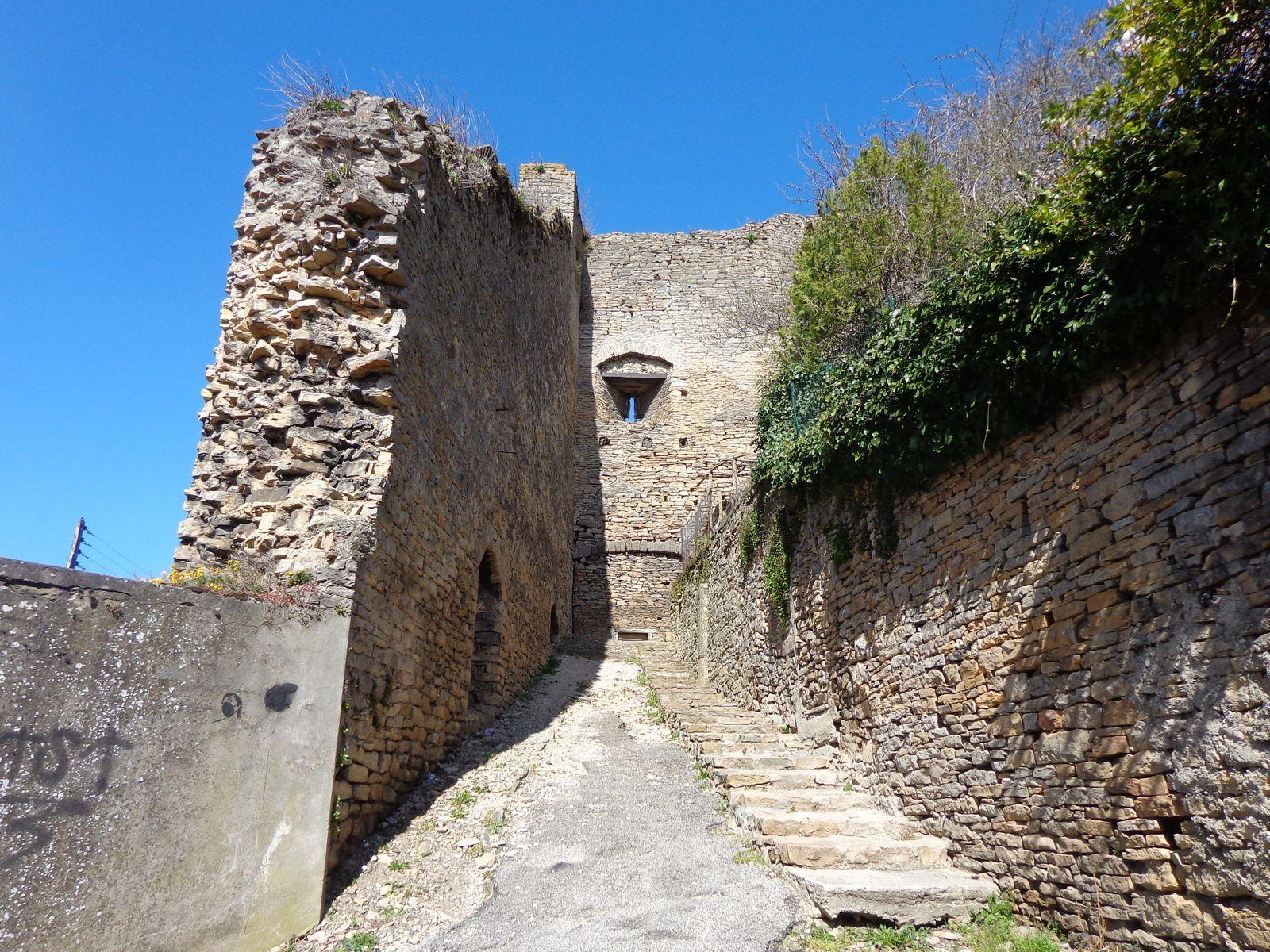 La cité médiévale de Crémieu ( Isère ) et la chaine des Alpes