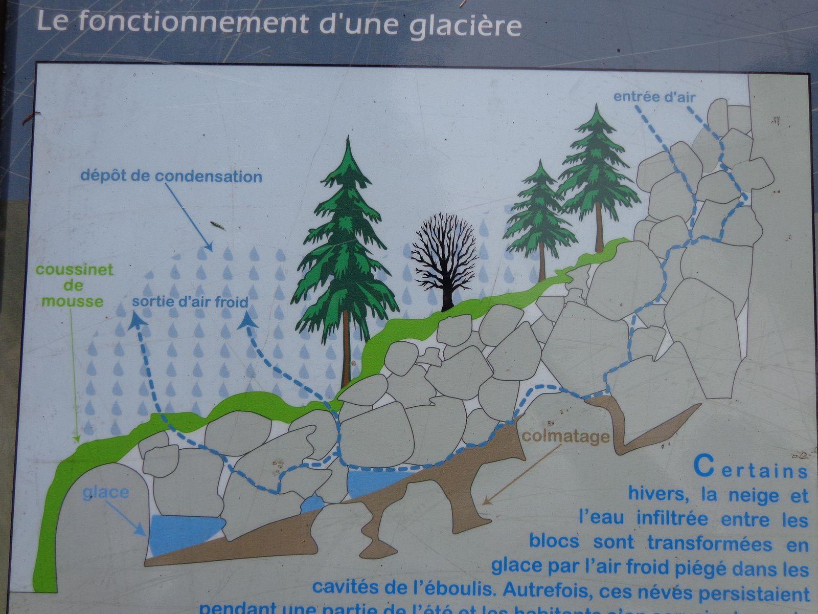 rochers qui cachent l'entrée de la glacière mais dont on peut ressentir la fraicheur à proximité