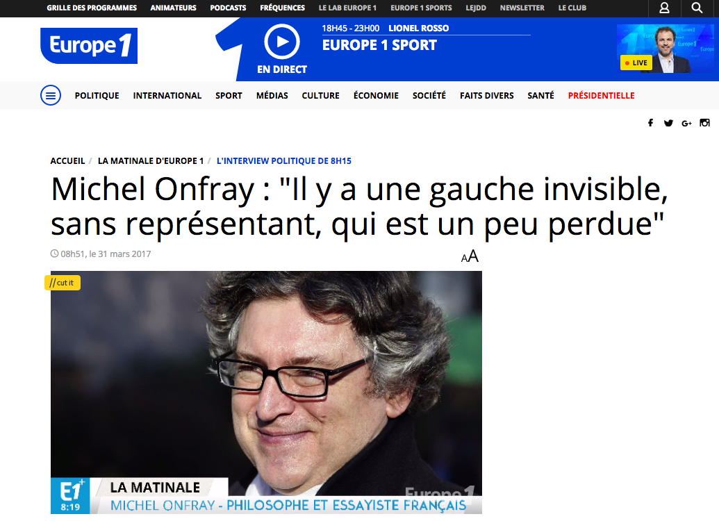 Michel Onfray - L'interview politique de 08h15 (Europe 1) - 31.03.2017