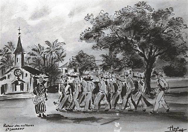 """Dessin ci-dessus de Francis Lagrange daté de 1946, qui signait ses peintures """"FLAG"""", ancien bagnard qui fut assigné à Saint laurent du Maroni après avoir quitté le pénitencier des Îles du Salut. Il fut libéré en 1946."""
