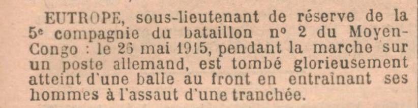Extrait du journal officiel de la République Française du 27 février 1916.