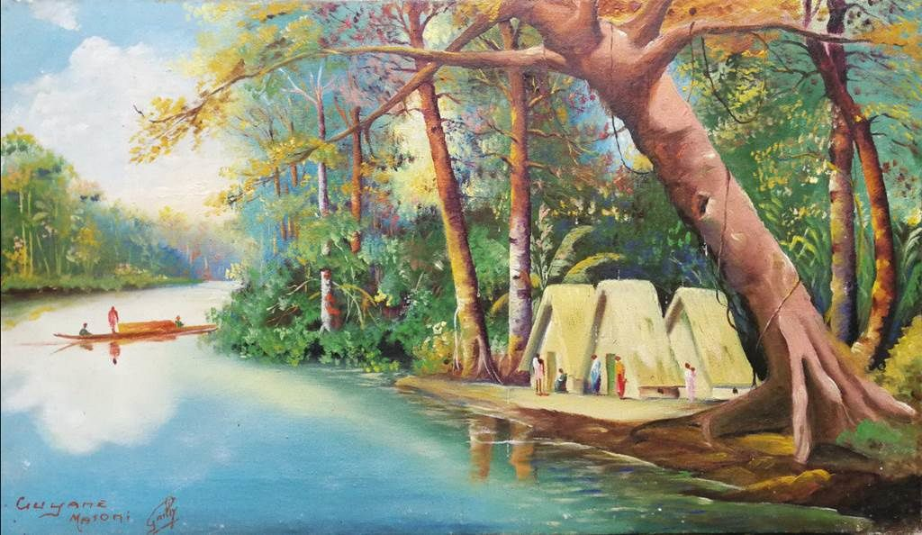 """Ce tableau de Grilly est intitulé """"Guyane, Maroni""""."""