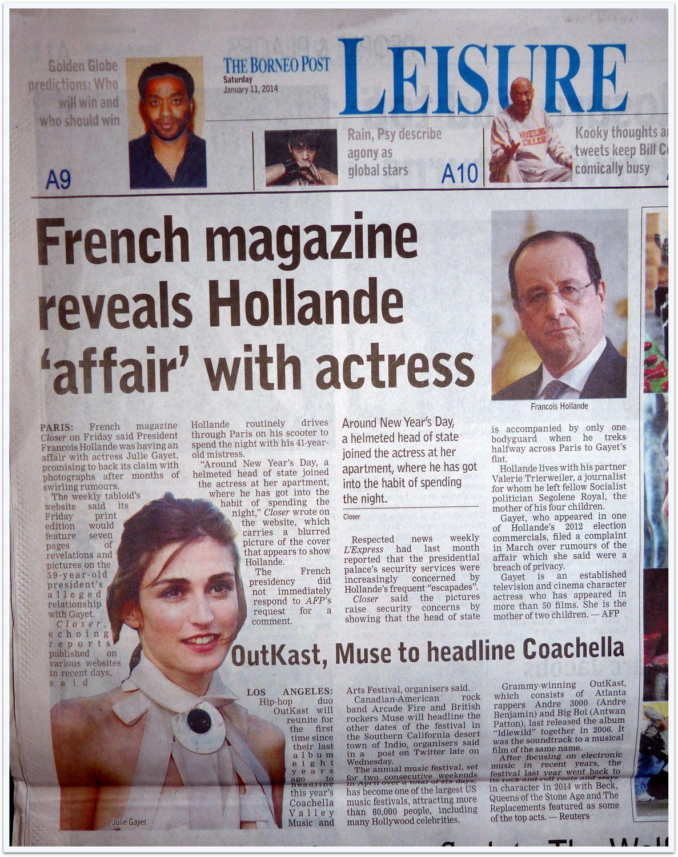 F.Hollande à la une des journaux Malaisiens!!!