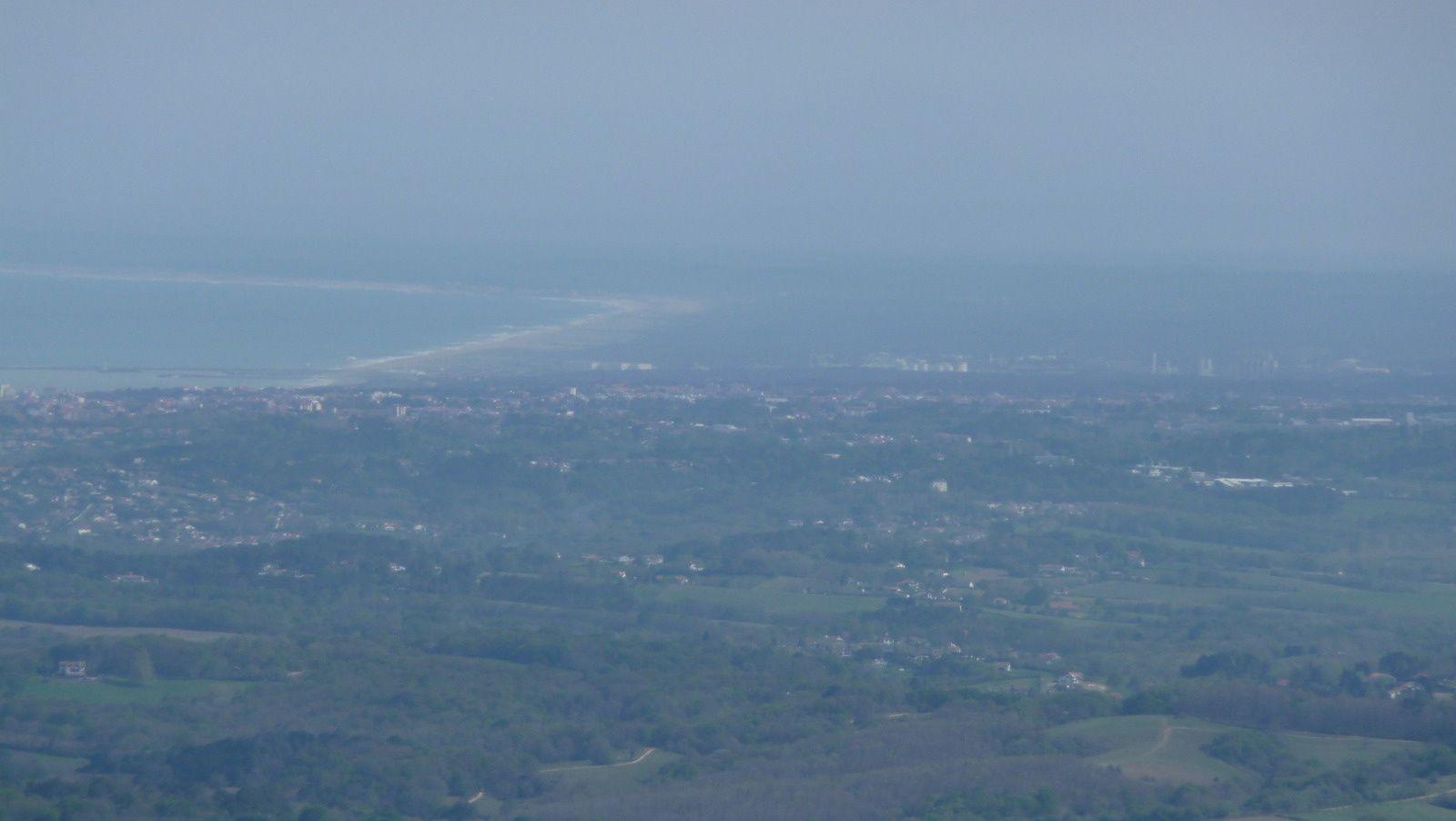 Vue vers le nord, la côte basco-landaise.