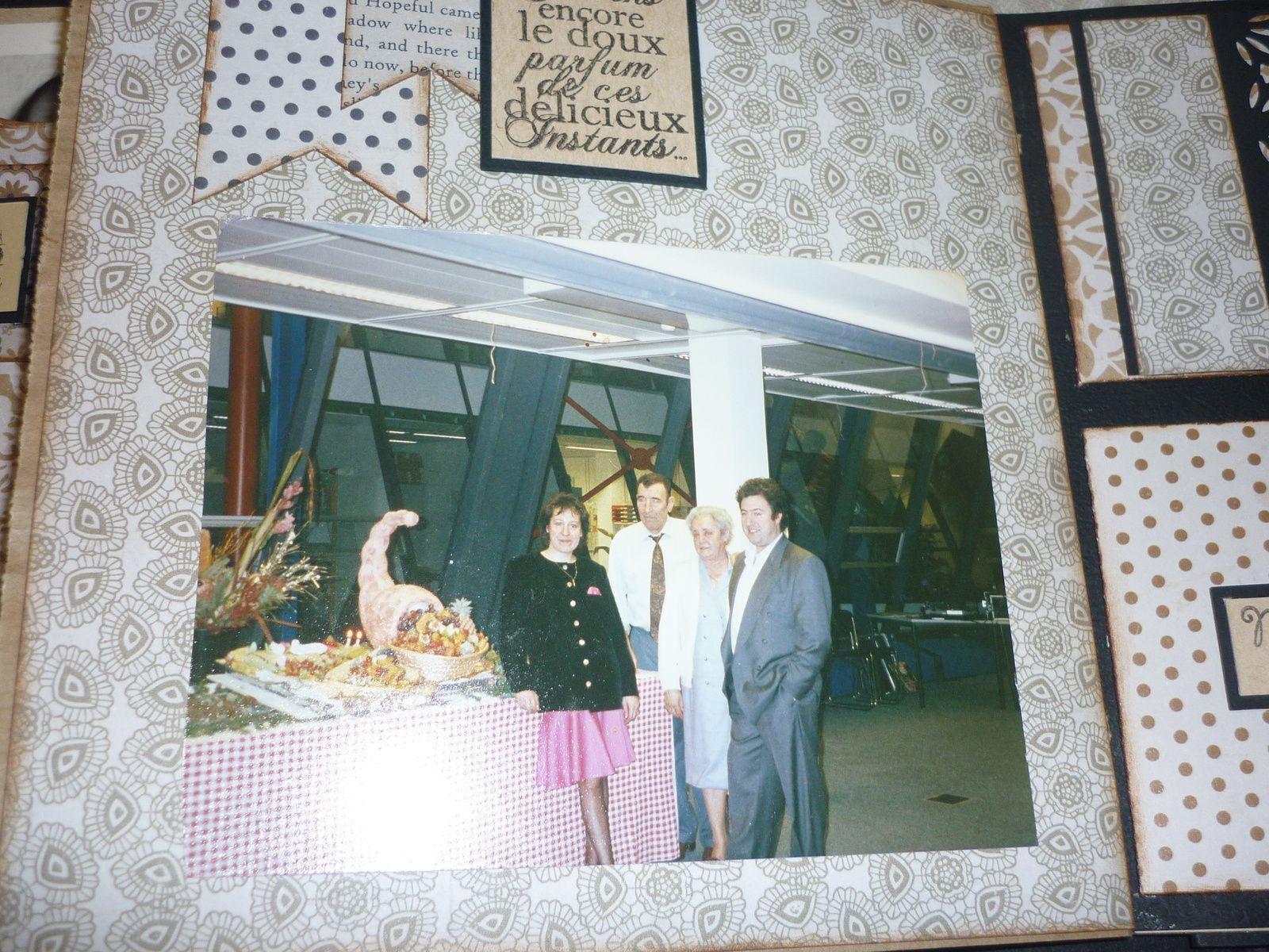 photo unique des 3 générations, les 40 ans de mon frère et le Chef dans son restaurant, mes 40 ans avec mes parents et mon frère