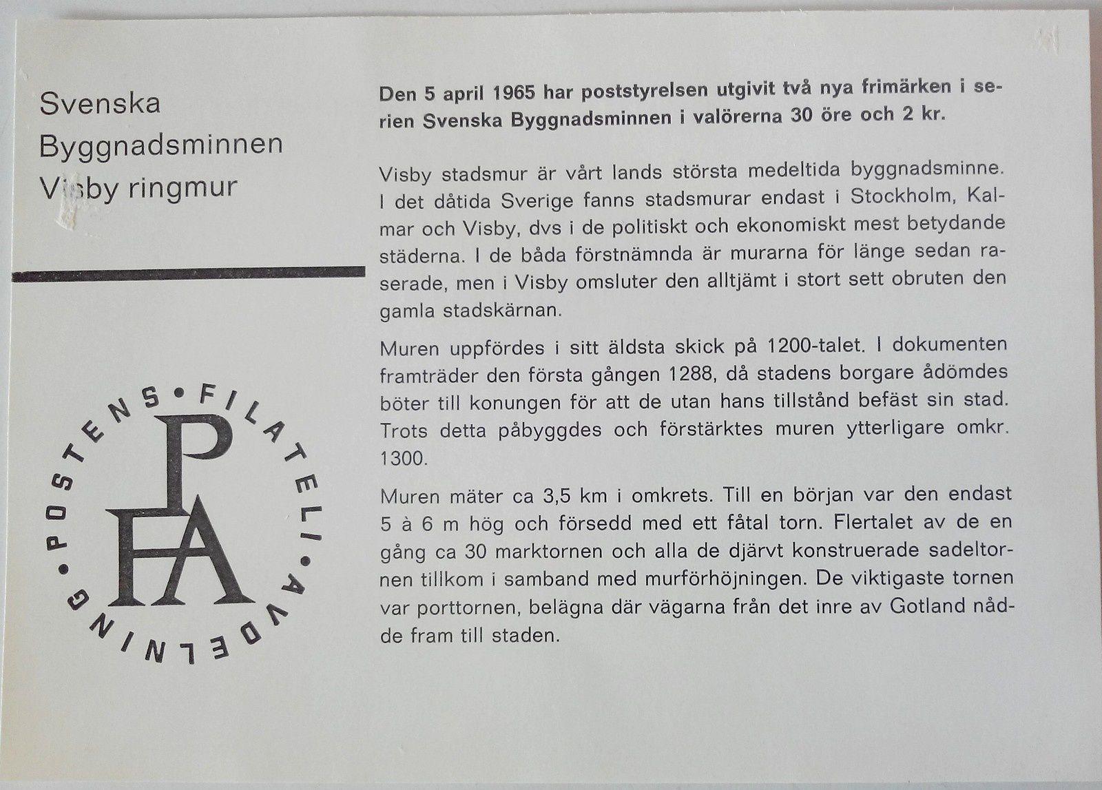 FDC : les remparts de Visby, 05-04-1965