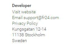 L'adresse de la société qui a développé le produit est indiquée en bas de page.