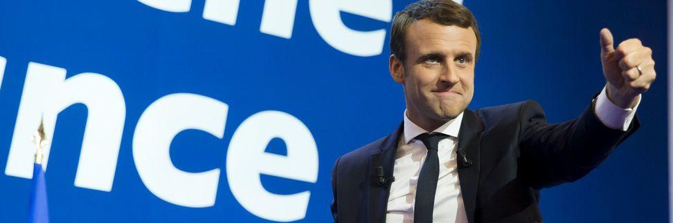 Emmanuel Macron après les résultats du premier tour de l'élection présidentielle à la Porte de Versailles à Paris, dimanche 23 avril.
