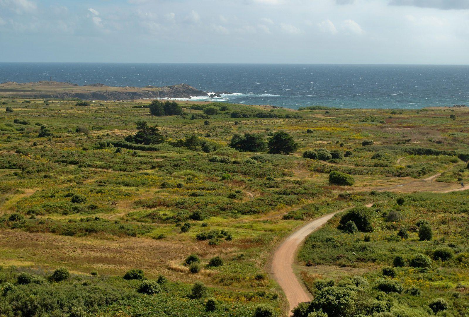 L'Ile d'Yeu&#x3B; Vue générale prise depuis le haut d'un phare en direction de la côte sauvage. (photo rediffusée).