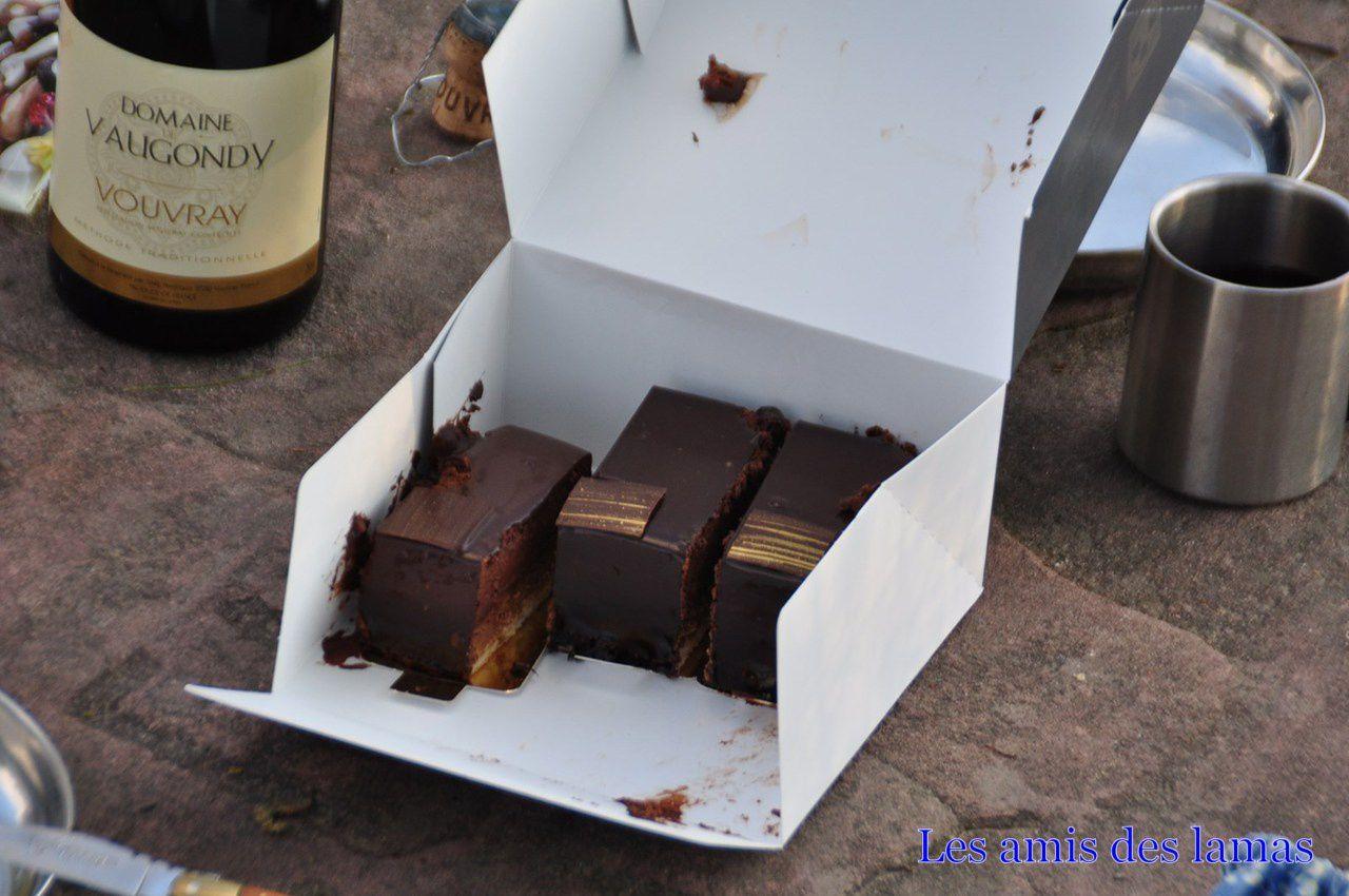 Dessert de la patronne (gâteau de chez Carl arroser d'un Vouvray)