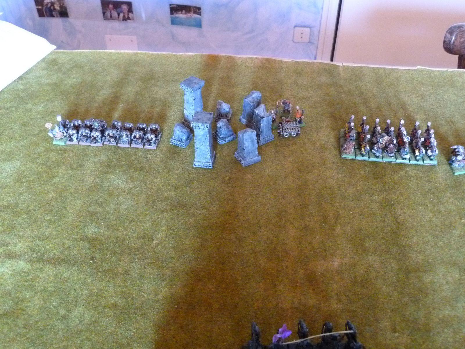 15 dracs de fer avec seigneur forgerune, un canon orgue, 20 marteliers + ingénieur, 14 arbalétriers + grande bannière, un canon, 38 guerriers avec le général et un gyrocoptère