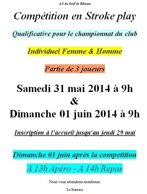 Qualification Championnat du Club 2014