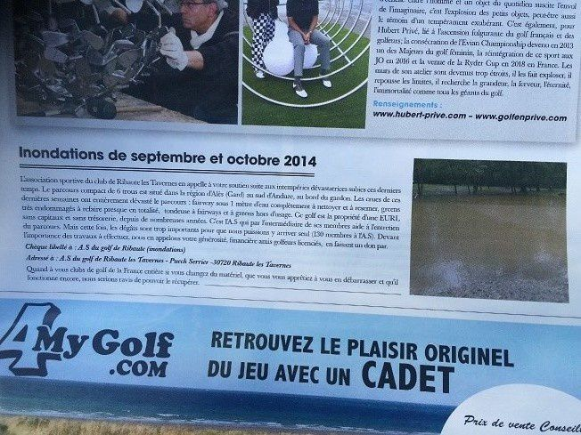 ARTICLE DANS GOLF MAGAZINE NOVEMBRE 2014