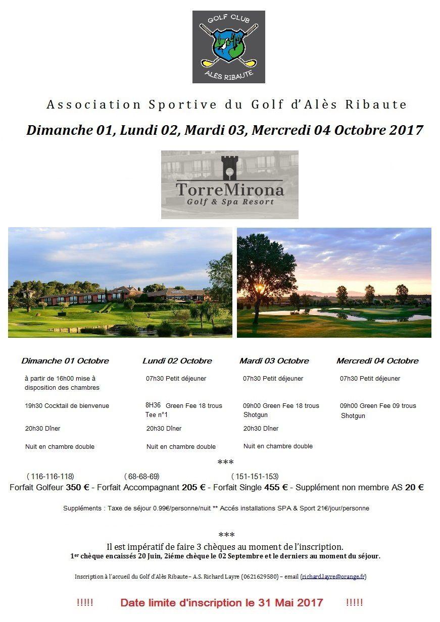 Sortie au golf de Torremirona Golf &amp&#x3B; Spa Resort le 01,02,03 &amp&#x3B; 04 Octobre 2017