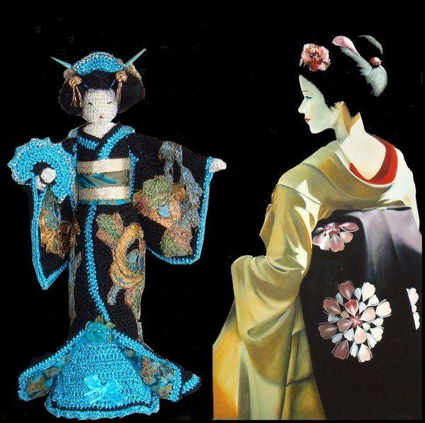 Geisha, poupée et tableaux