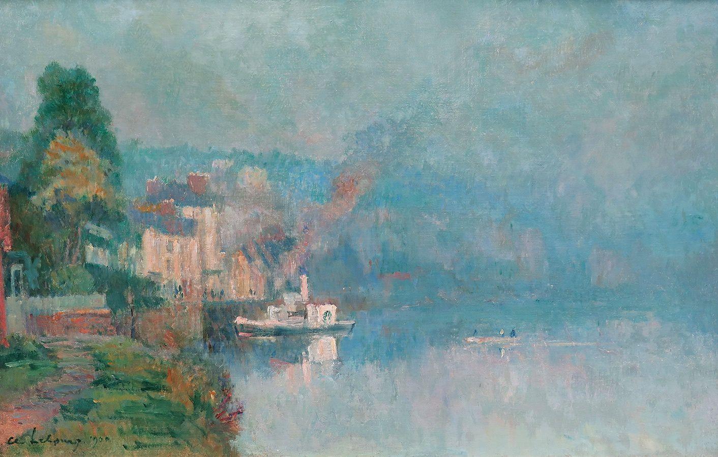 A.LEBOURG (1849-1928) -  La  Seine à LA BOUILLE HST SBD 46x73