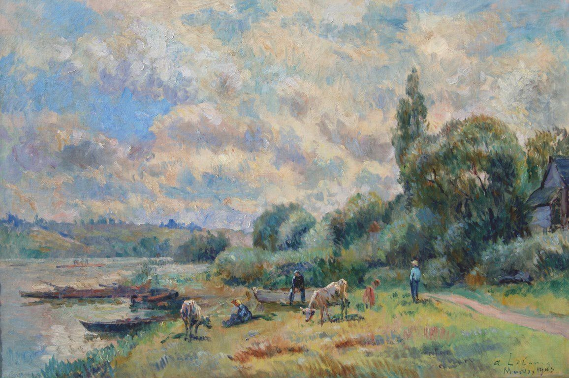 A. LEBOURG - bords de Seine à Muids - 1903 - 54x81 - coll. part