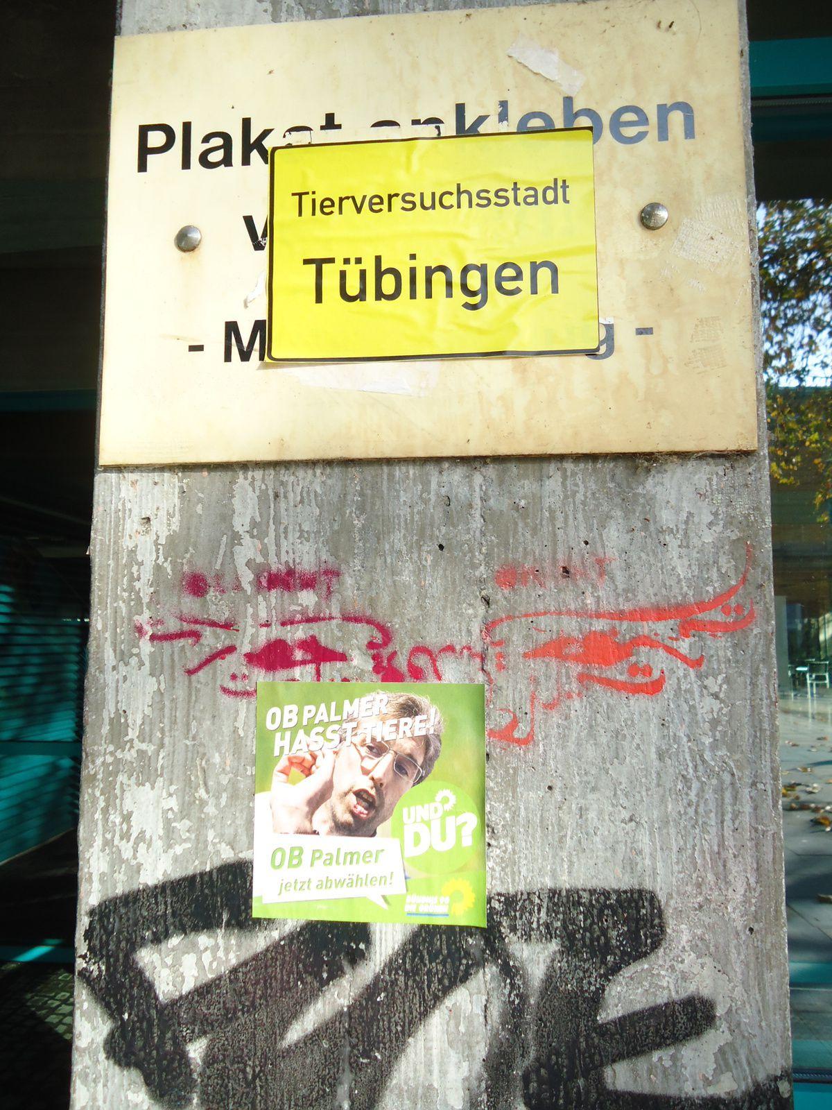 """Panonceau jaune d'entrée de ville détournée : """"Tübingen, ville des essais sur les animaux"""" / Autocollant """"Le maire de la ville [Boris] Palmer hait les animaux. Et toi ?"""" Notons au passage qu'il est interdit de coller ici des affiches : Plakate verboten. S'exprimer, c'est parfois violer les lois. Wilhelmstraße."""