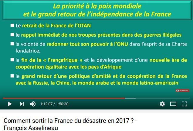 Et la politique étrangère de François Asselineau sera .....