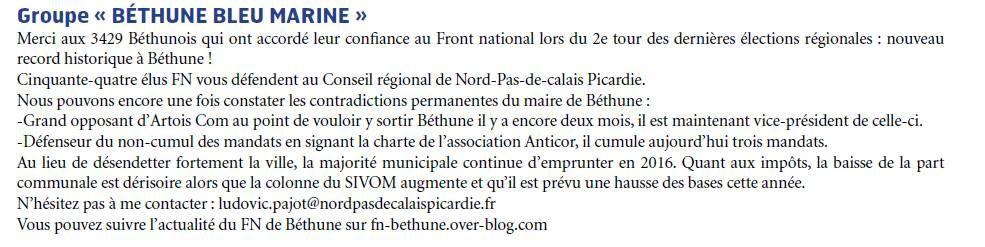 Tribune Béthune Bleu Marine - Mars 2016