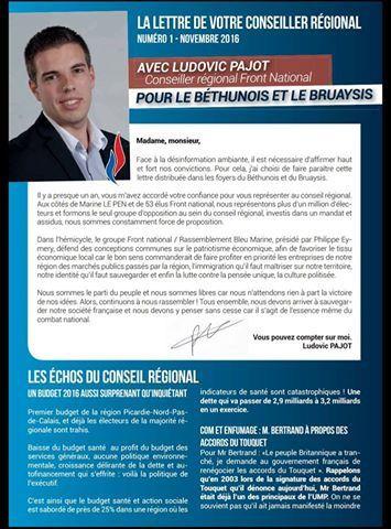 Retrouvez ci-dessus le premier numéro de la lettre que Ludovic Pajot adresse aux habitants du Béthunois et du Bruaysis