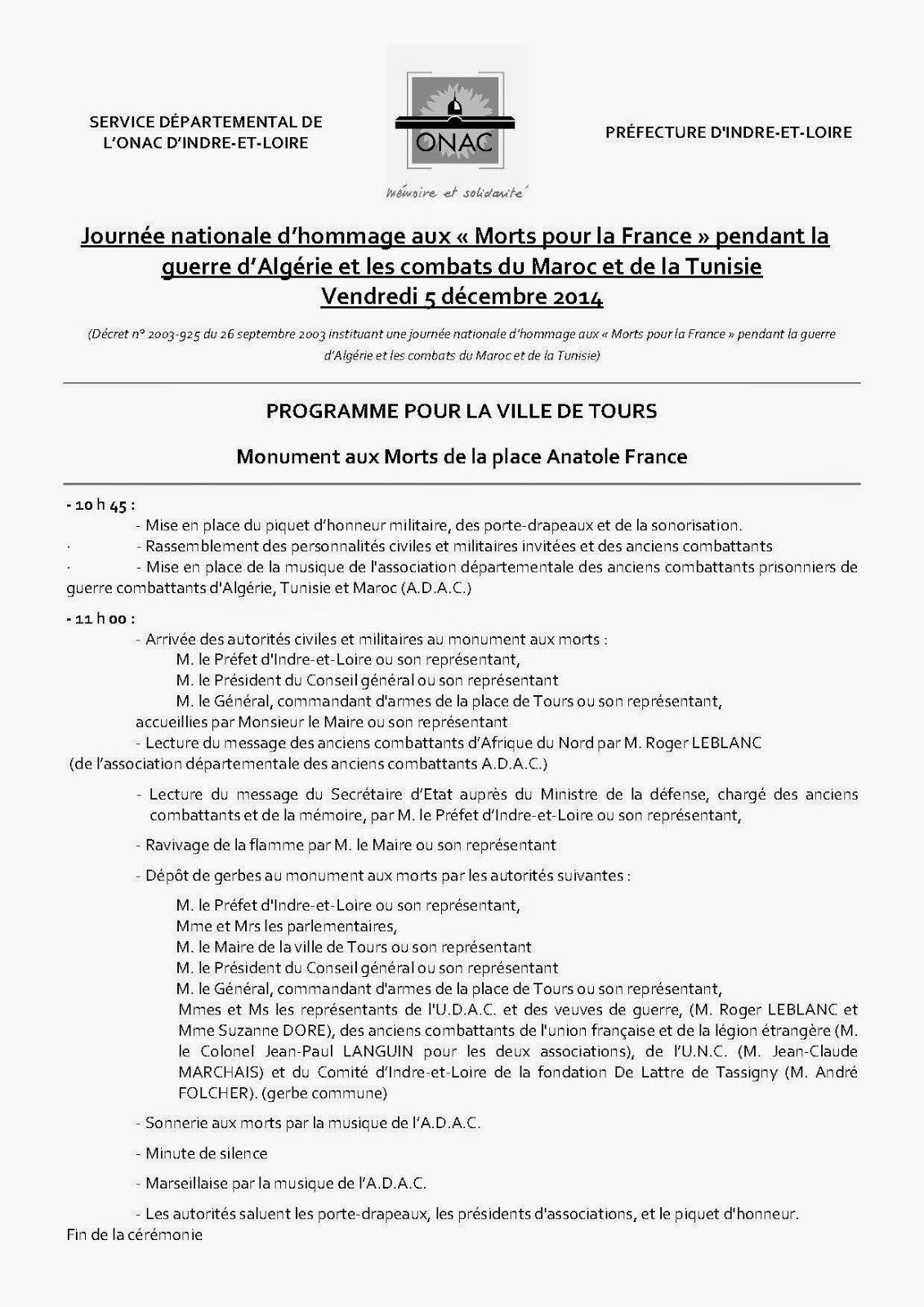 Programme Cérémonie du 5 Décembre 2014