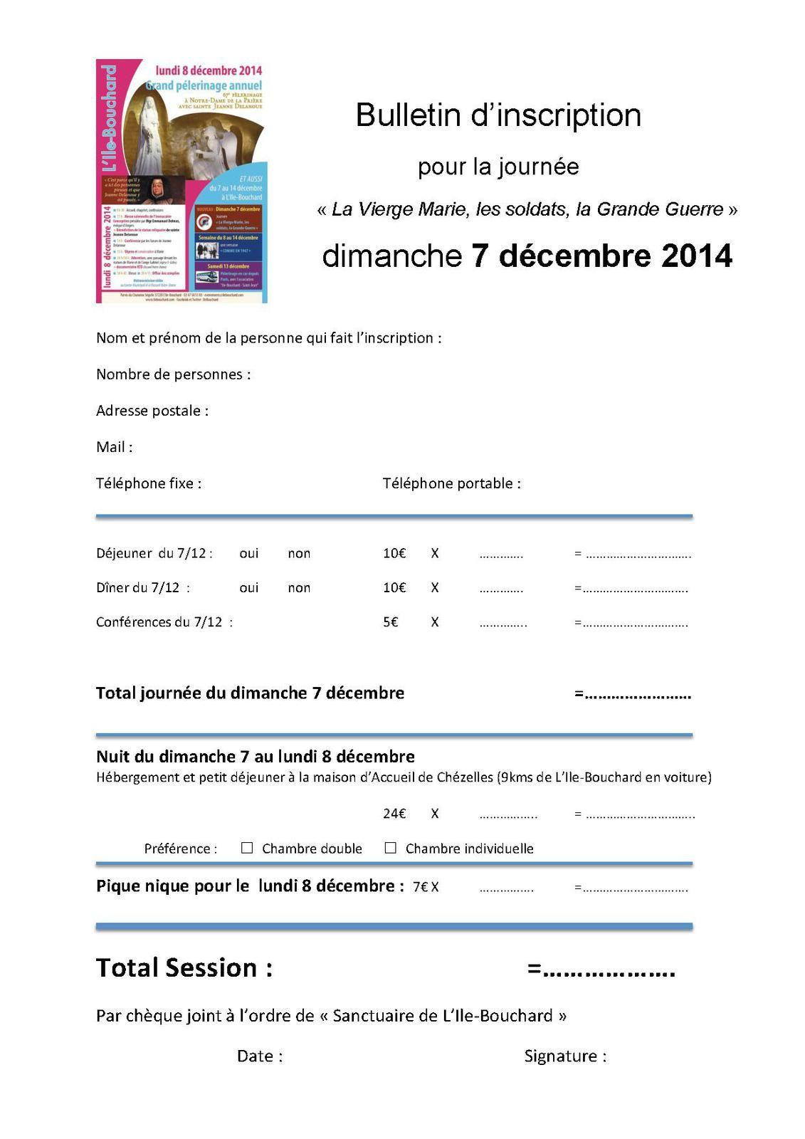 Dimanche 7 décembre 2014 à L'Ile-Bouchard Journée « La Vierge Marie, les soldats, la Grande Guerre »