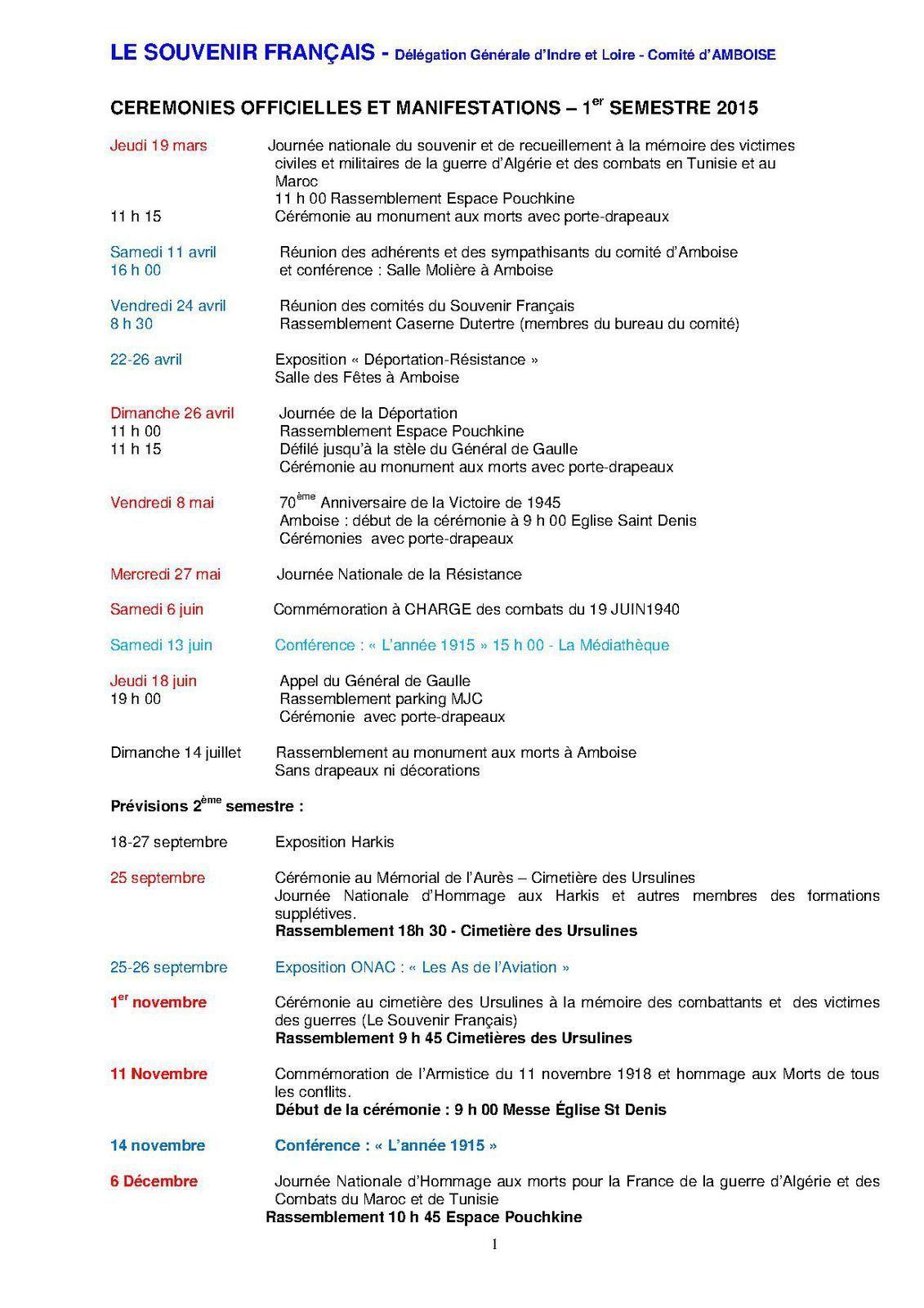 Programme des cérémonies  et manifestations 2015