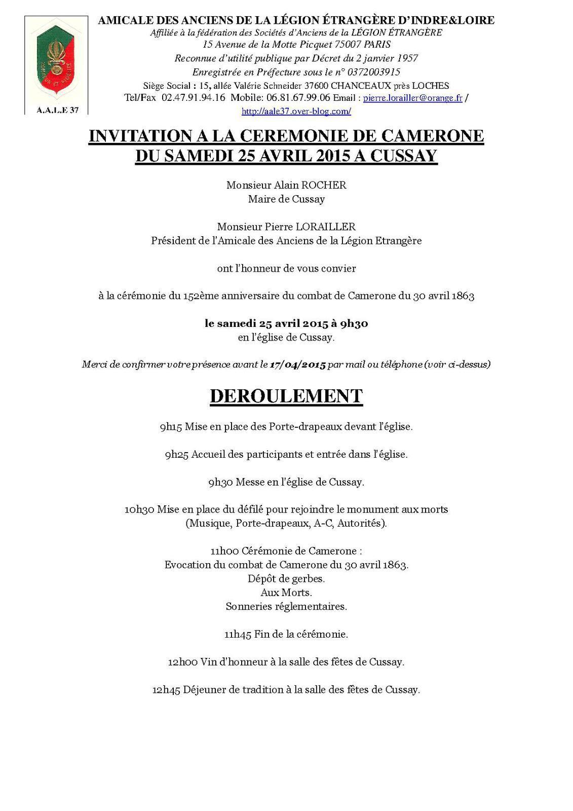 Invitation à la cérémonie de Camerone 2015 à Cussay
