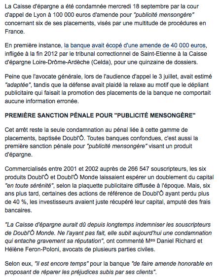 Le Monde le 18 Septembre 2013