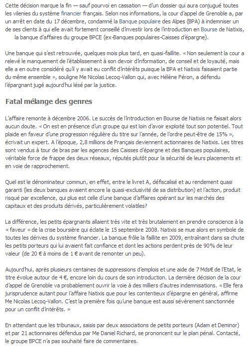Le Parisien le 23 Décembre 2013