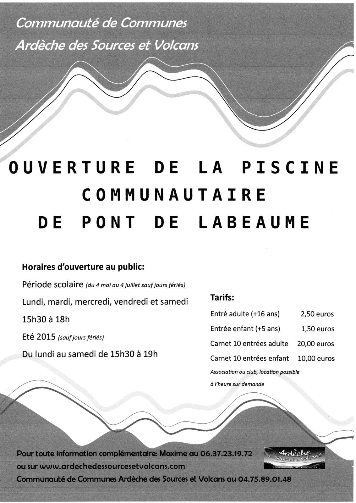 Ouverture de la piscine intercommunale