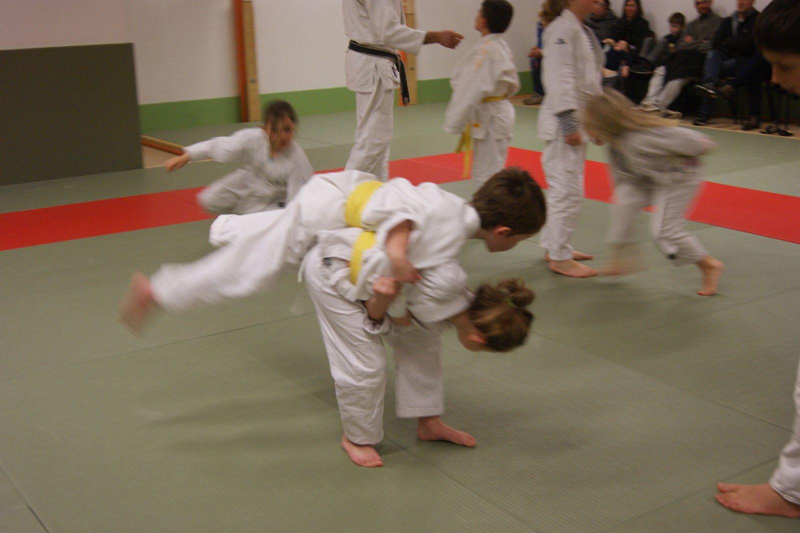Entrainement et démonstrations sur le dojo, avec les parents et familles en spectateurs attentifs