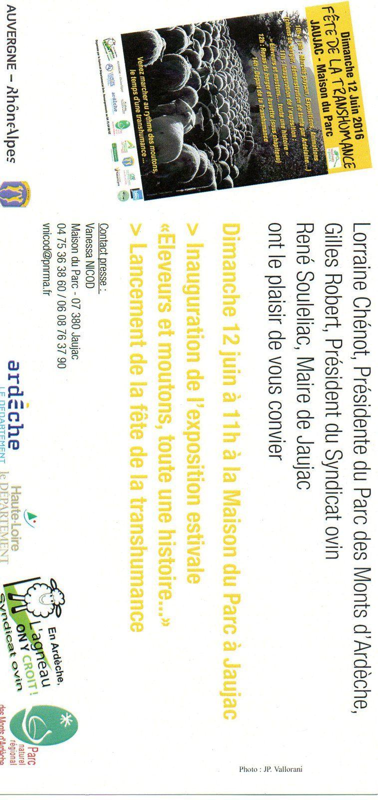 Fête de la transhumance : dimanche 12 juin à Jaujac