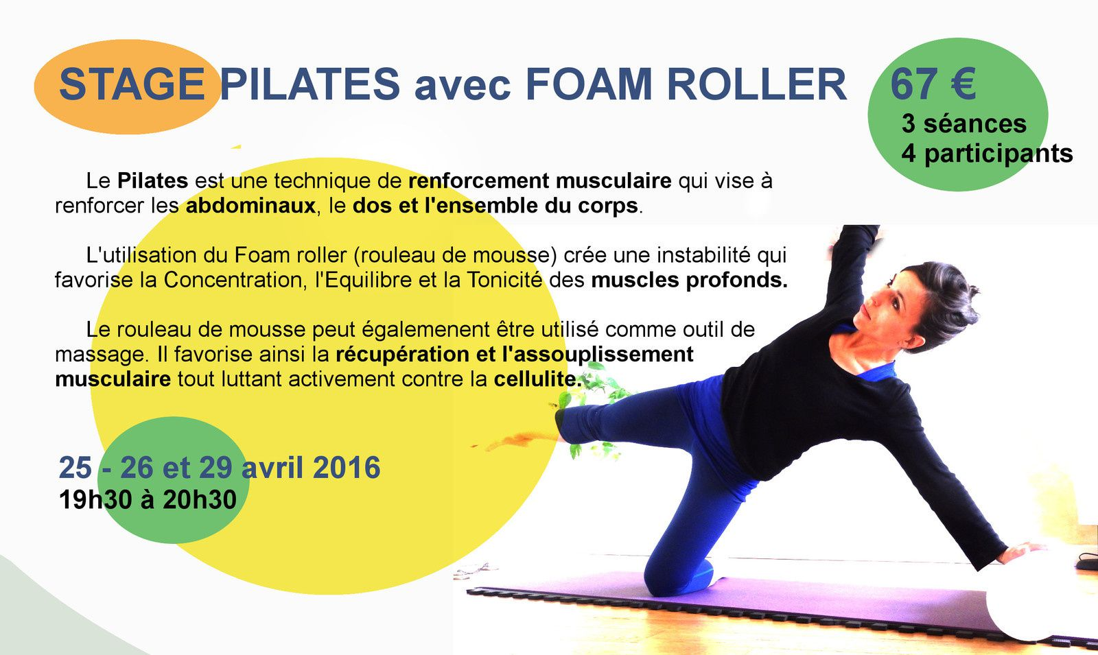 Stage de Pilates Foam Roller avril 2016